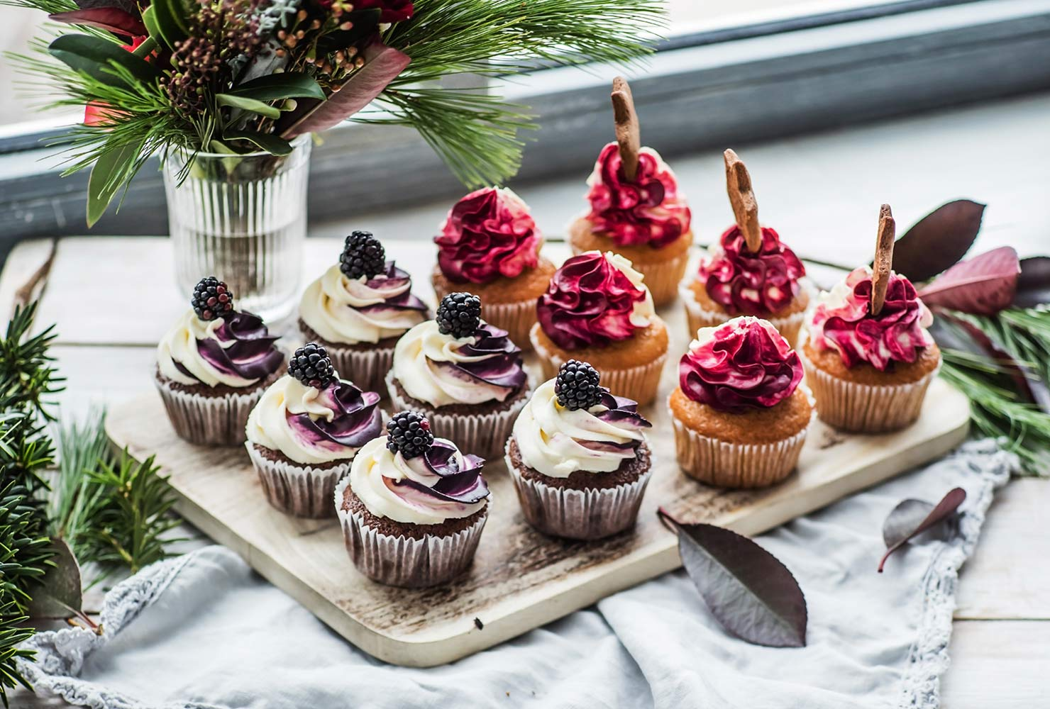 Colorful cupcakes on table.