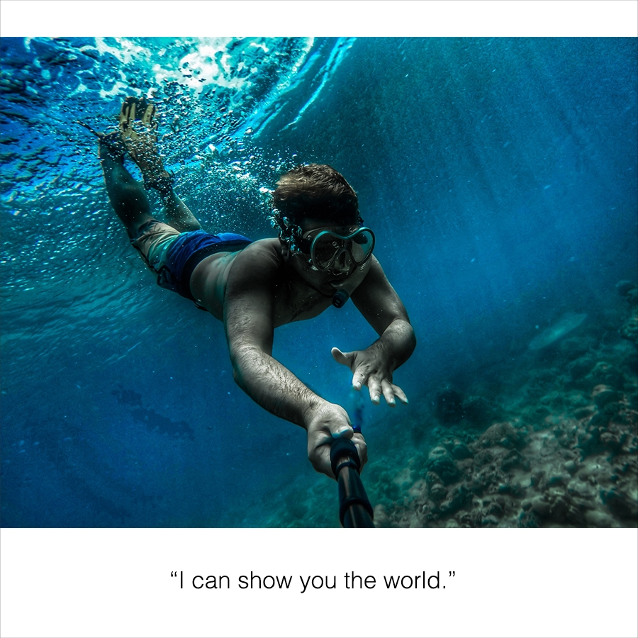 Photo of a diver and a selfie caption.