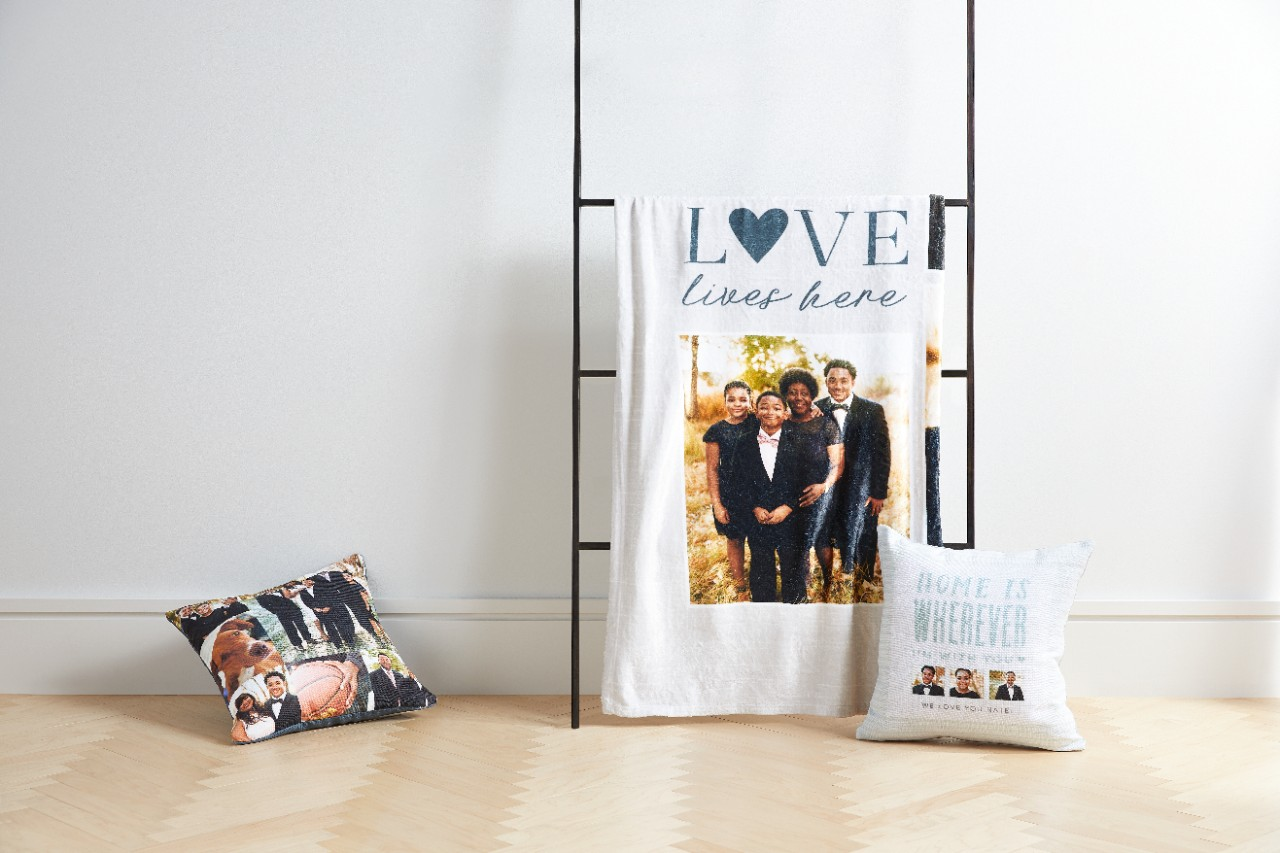 photo blanket and photo pillows