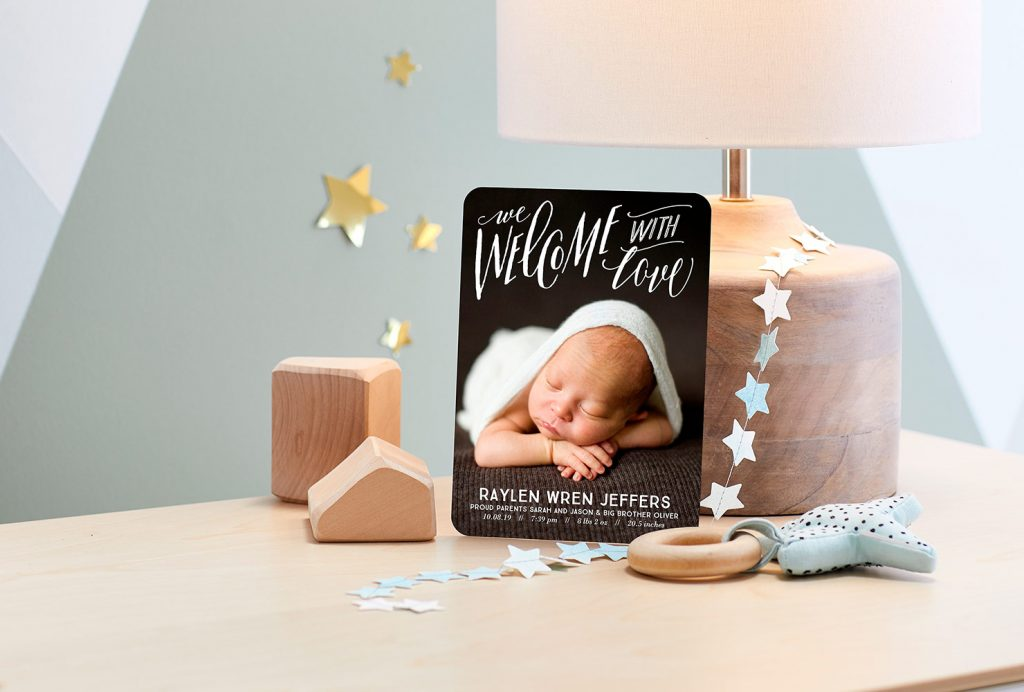 Little boy photo baby announcement card in nursery