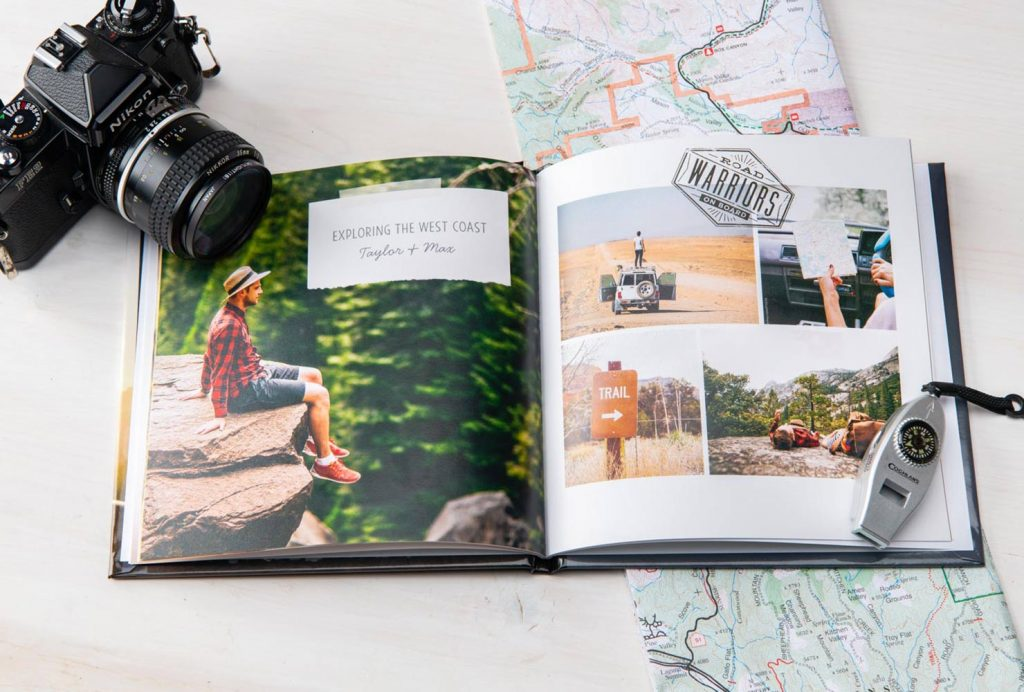 travel photo book used as guest book