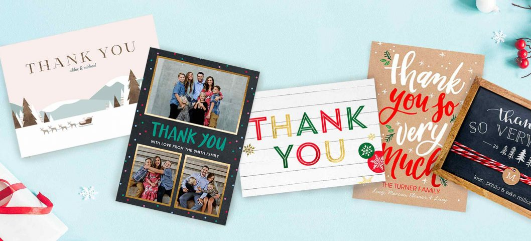 Five festive Christmas thank you cards on blue background