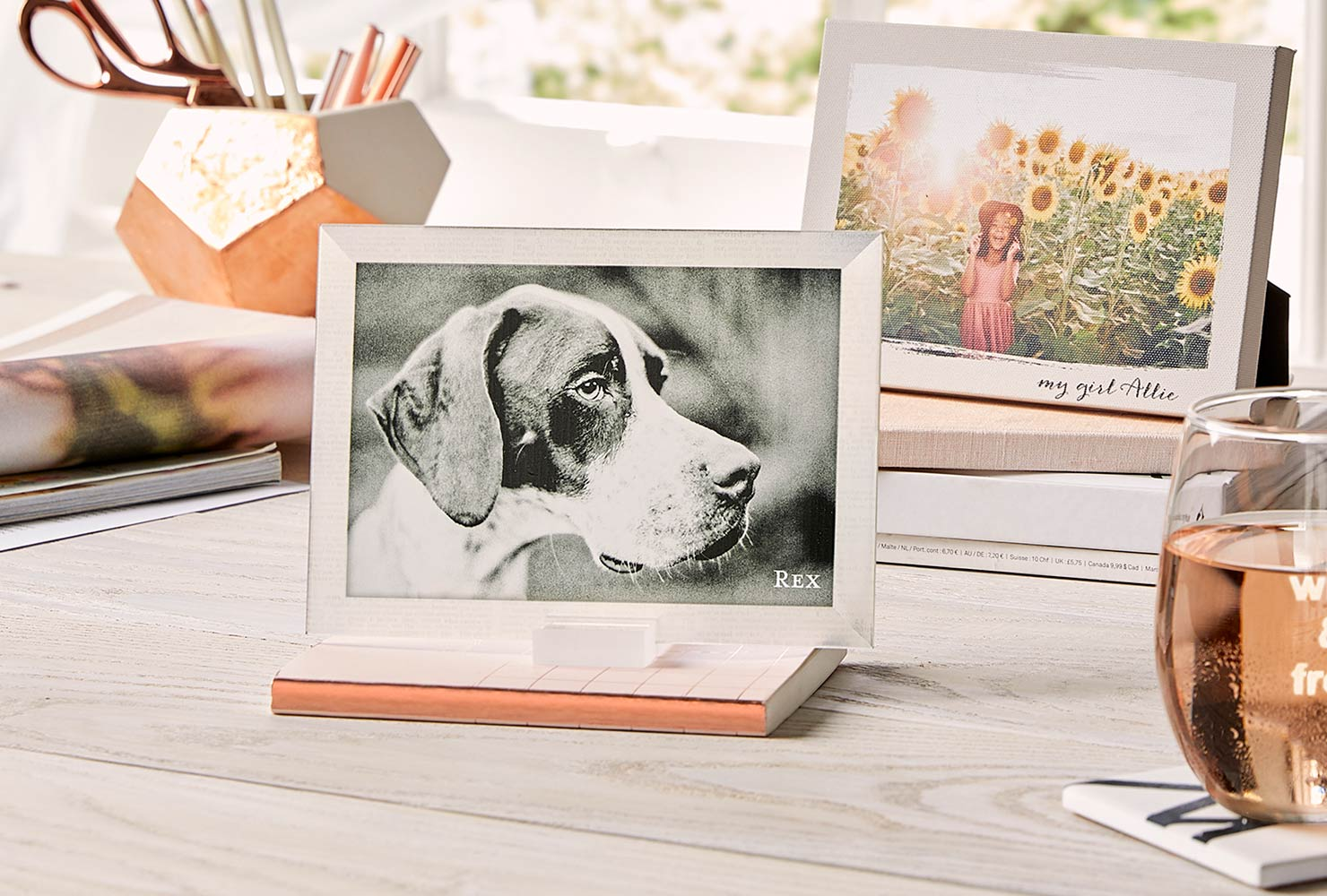 Desktop plaque of dog and modern desk decor