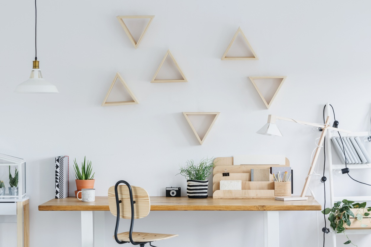 DIY room decor triangle shelves