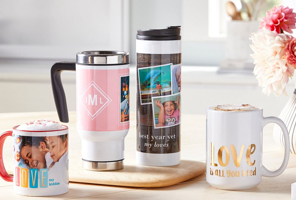 Coffee mugs and to-go cups.