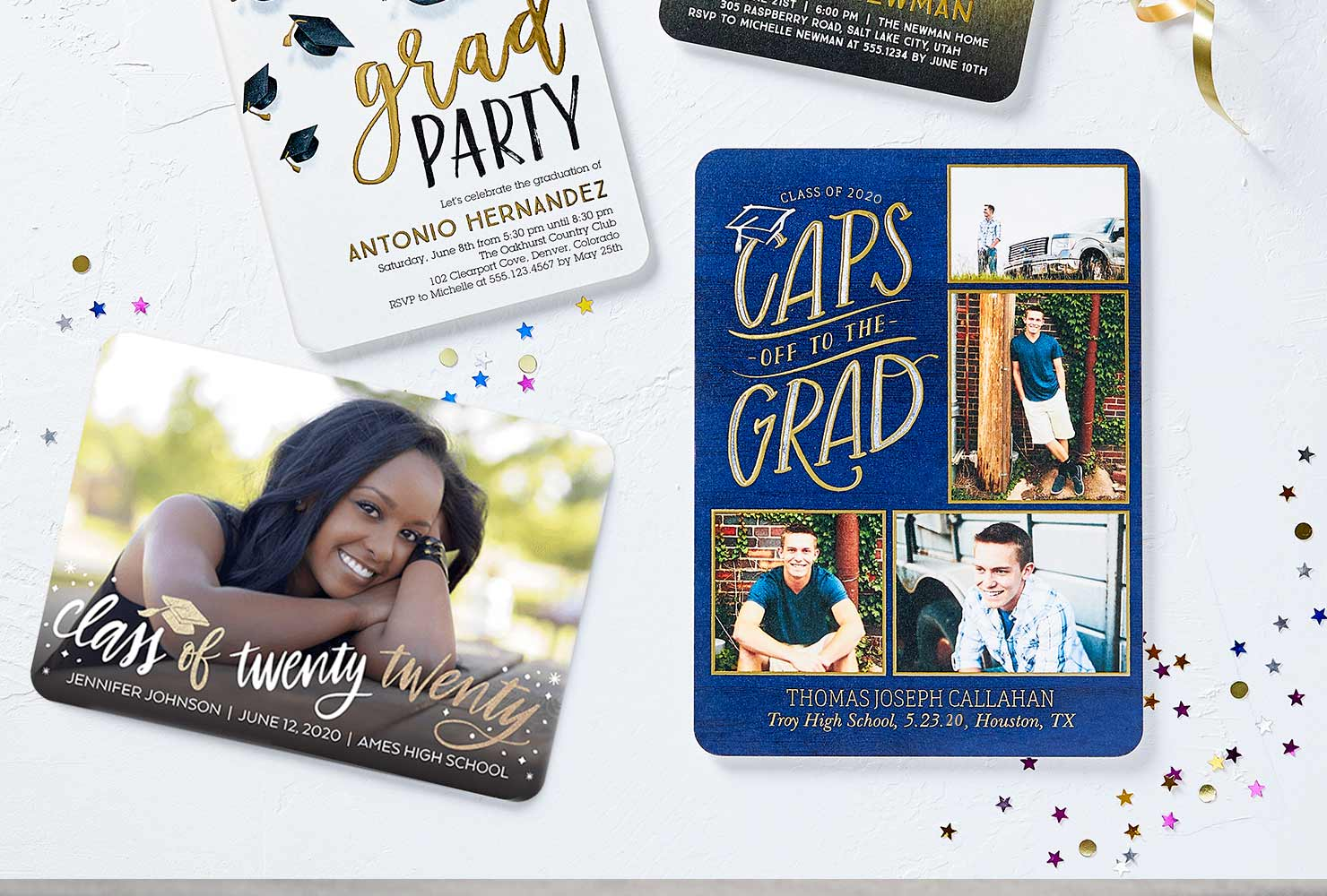 Festive photo graduation party invitations