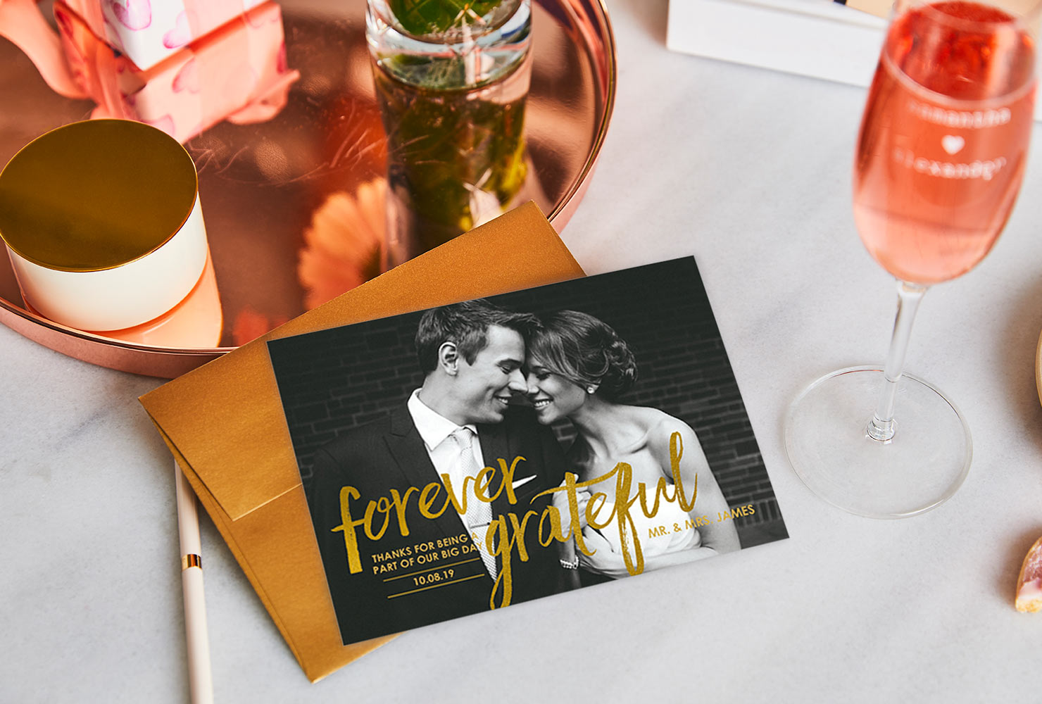 Photo wedding cards with pink home decor and champagne