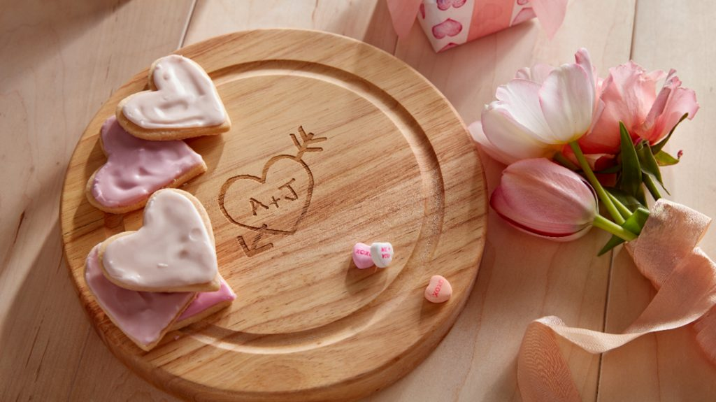 custom cutting board with heart cookies for valentine's day