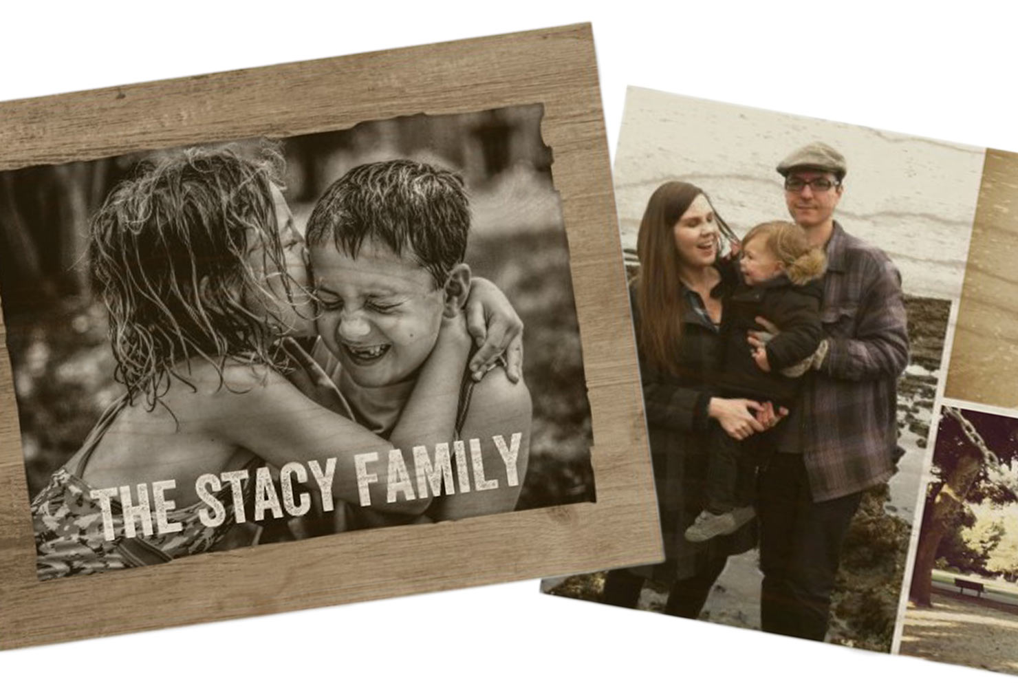 Wood wall art prints of young family