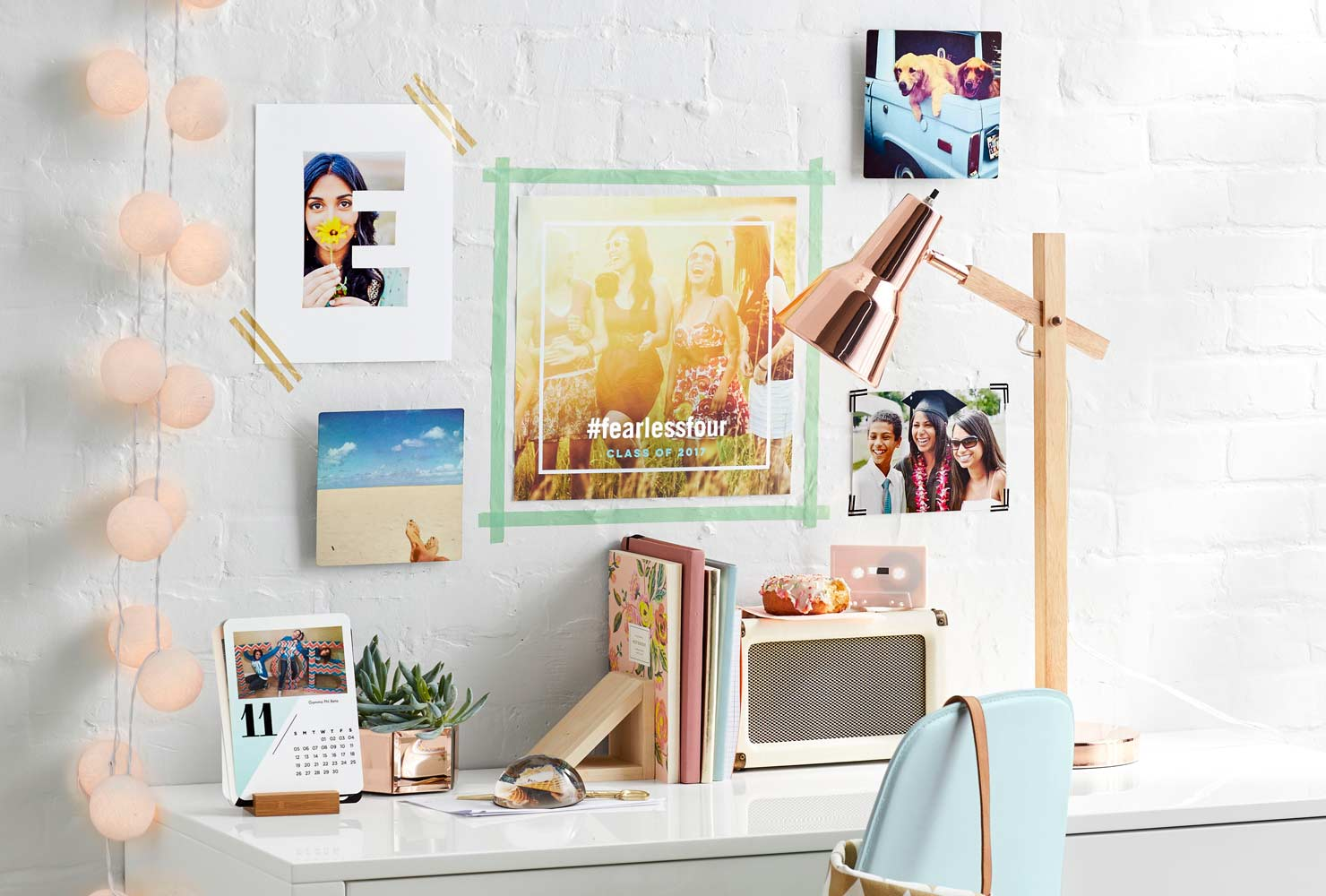 Desk decor with colorful DIY wall art
