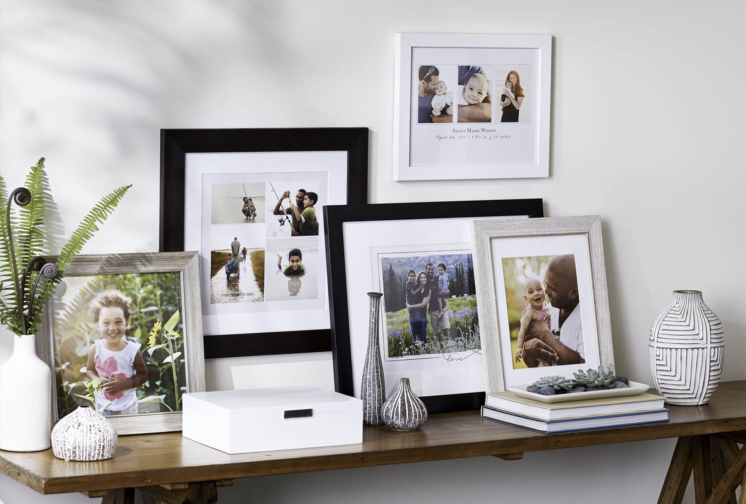 Framed print photo collages