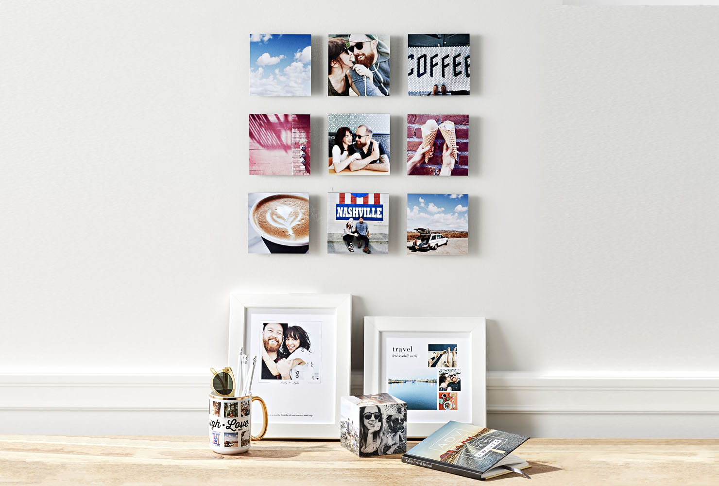 Square photo prints on wall.