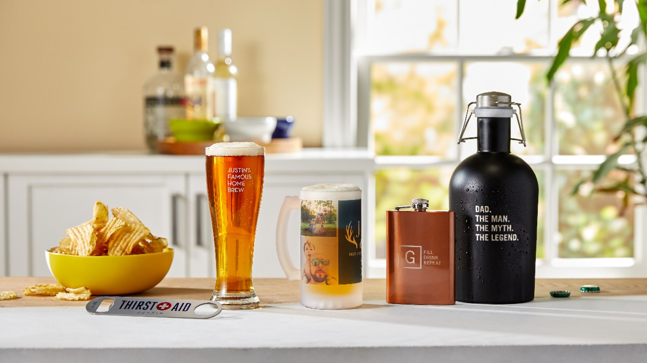 personalized beer growler, mug, and flask