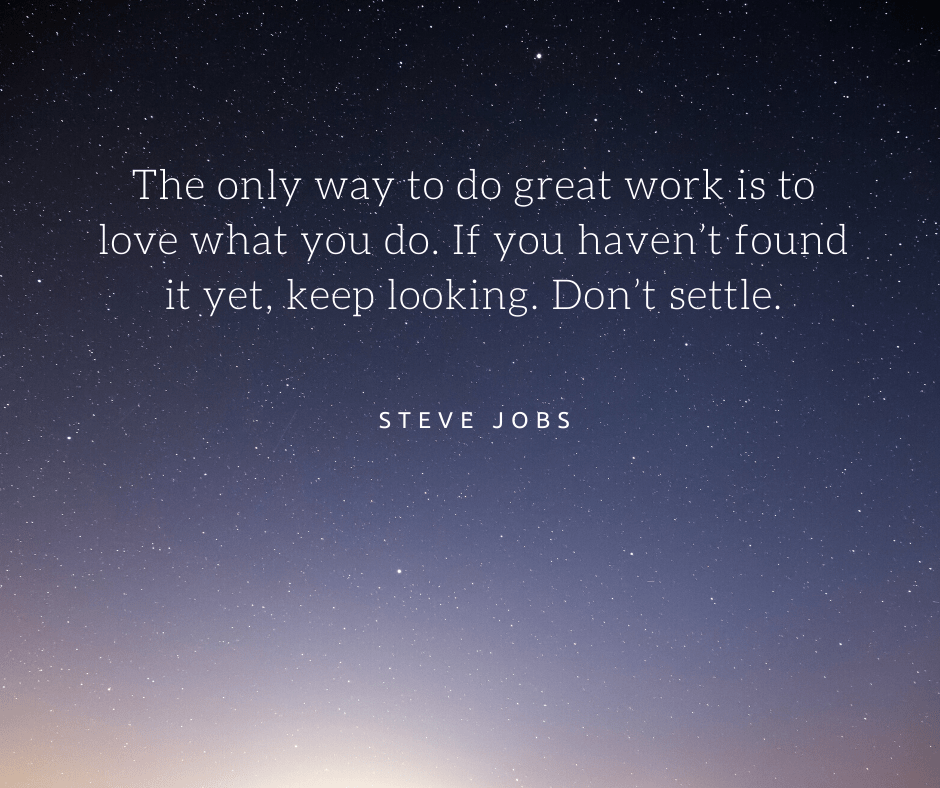 inspirational quote about work by steve jobs
