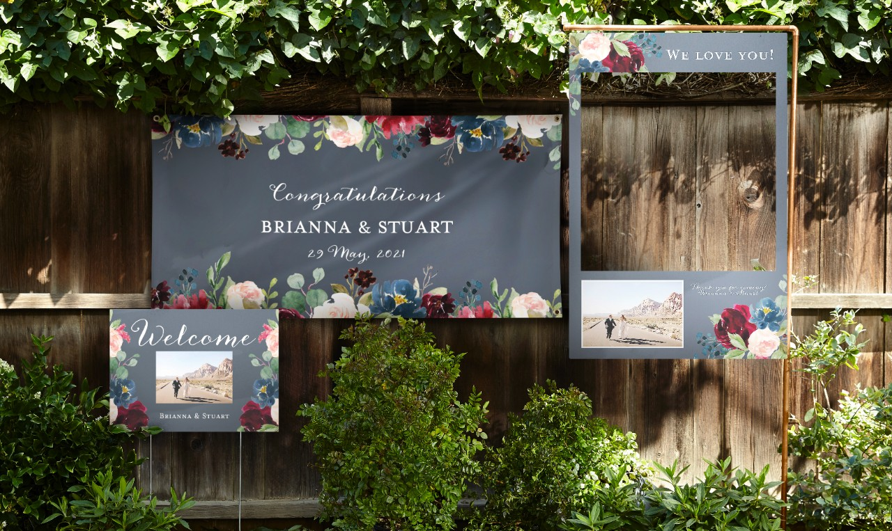 vinyl wedding banner floral themed wedding