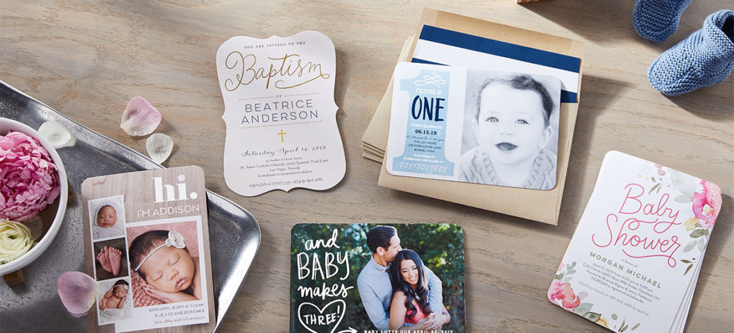 Shutterfly photo baby shower invitations with custom fonts, styles, colors, and designs