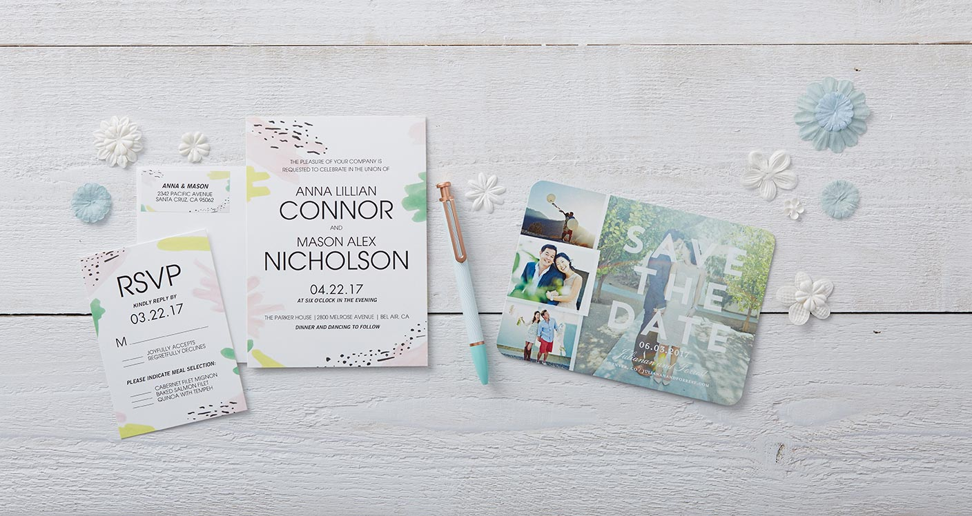 simple wedding invites with photo collage and custom design templates