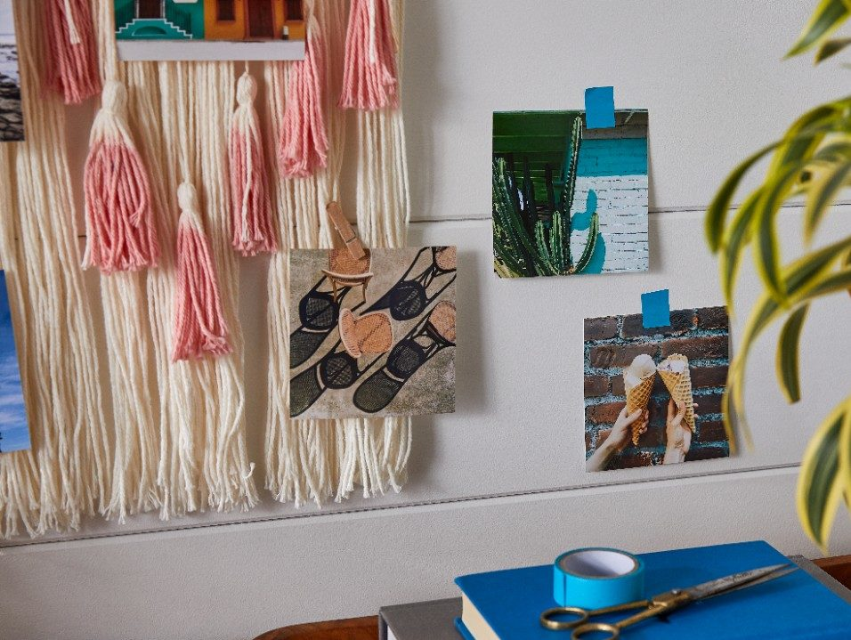 photo wall collage hung with washi tape