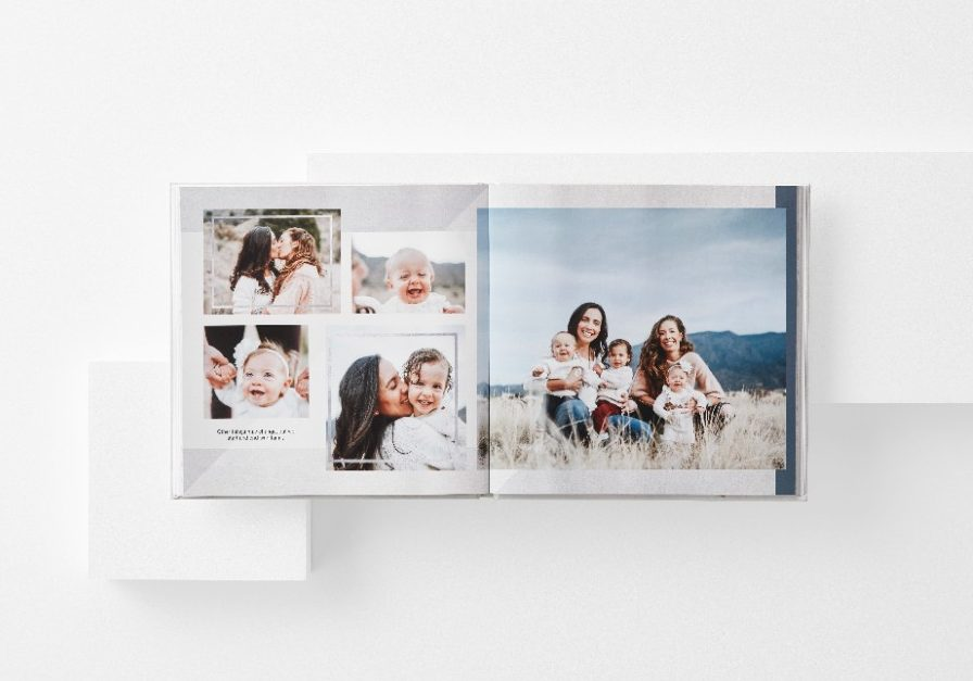 modern photo book with photo collage of family and kids