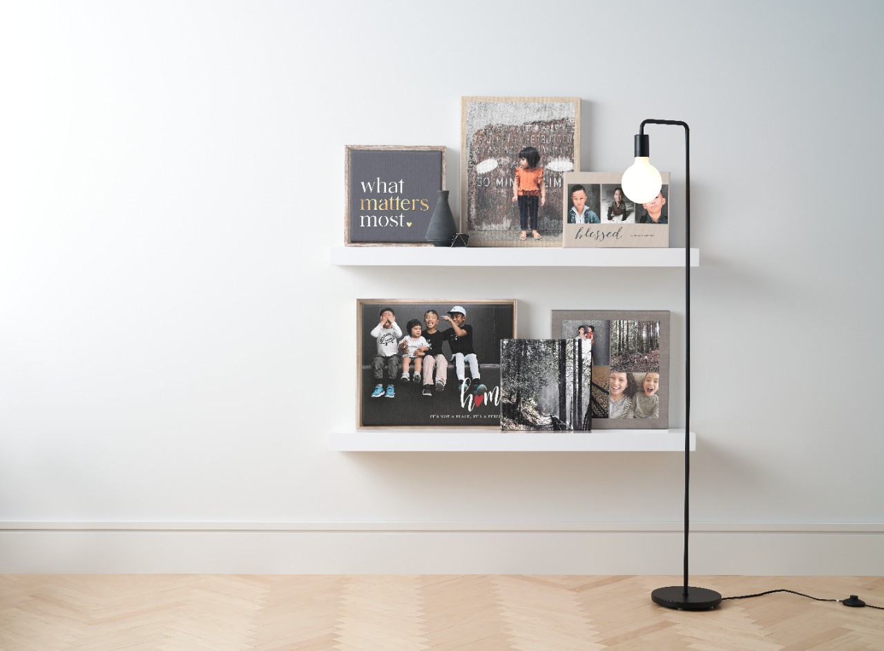 displaying canvas prints on shelves