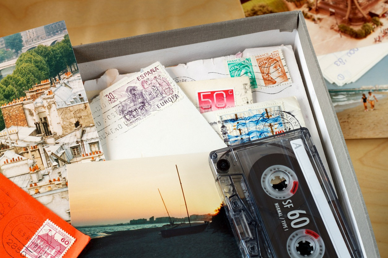 memory box filled with letters, pictures, and mementos
