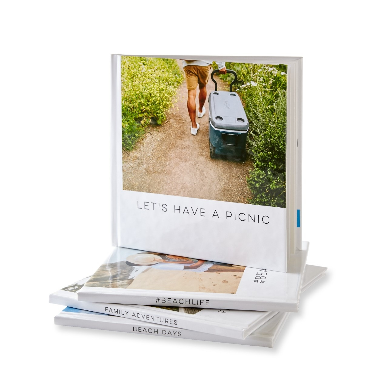 A collection of quick photo books with pictures of weekend adventures