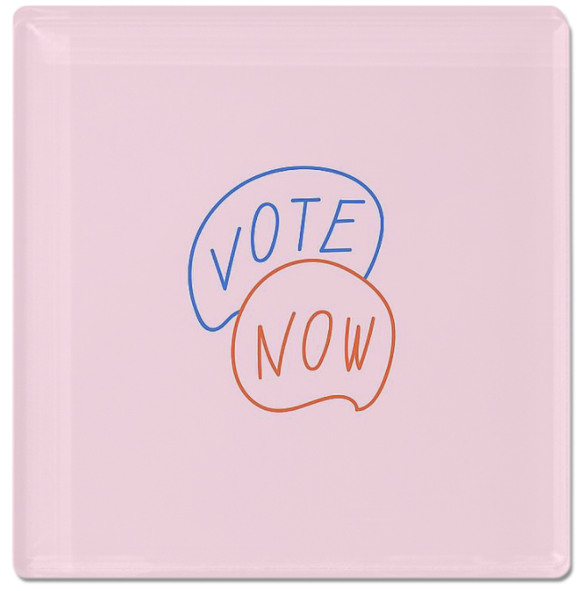Pink custom magnet that has voting art that says vote now