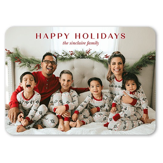 Quiet sentiments holiday card with family in pajamas