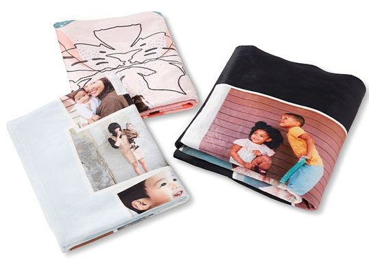 Fleece blankets 3 in different colors sizes and pictures displayed