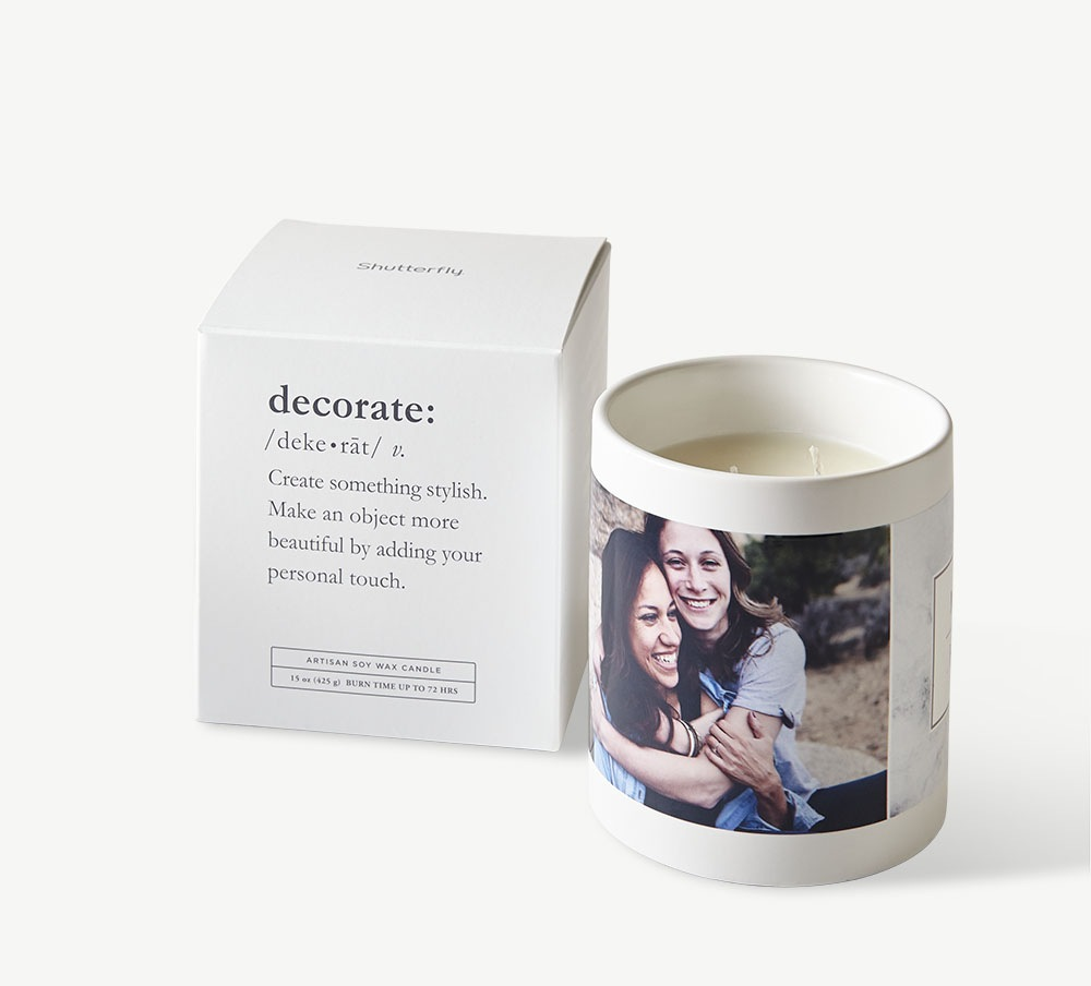 Candle with personalized picture and a ready to gift box