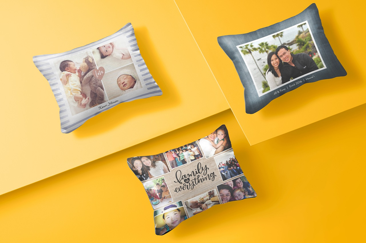 Custom pillows designed with uploaded photos
