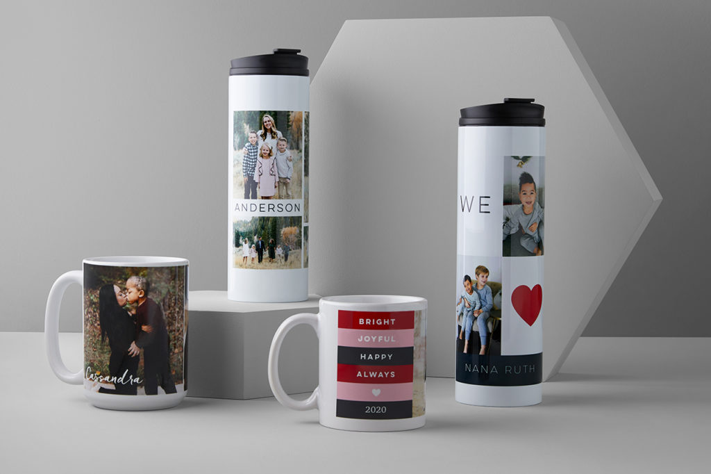 Custom photo mugs made with uploaded pictures