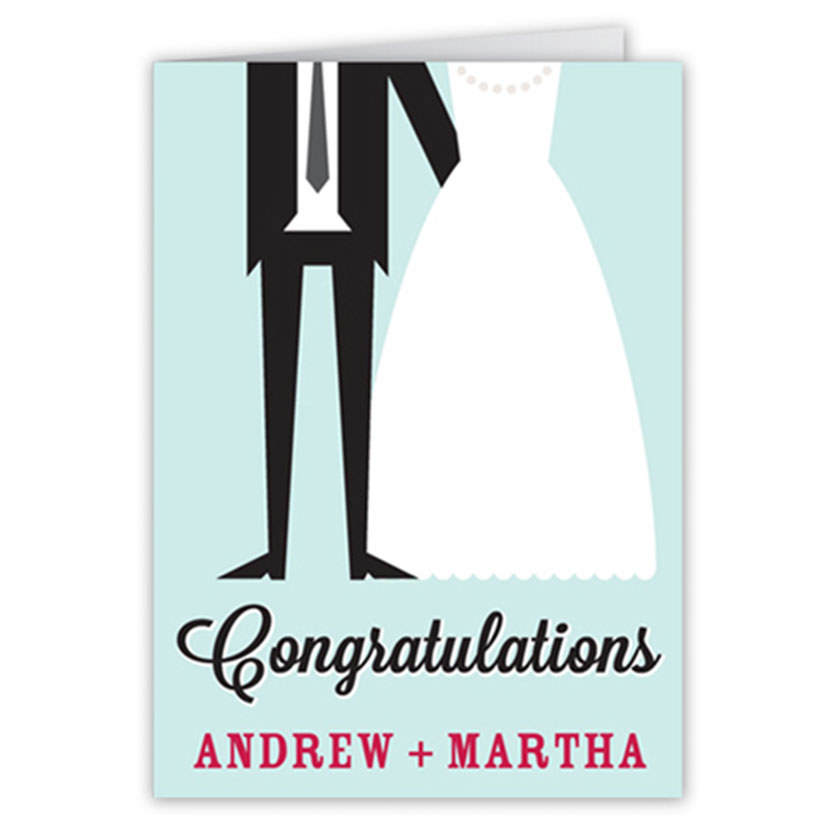 Illustrated wedding congratulations card with drawing of bride and groom