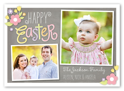 Floral Embellishments Easter Card with new baby