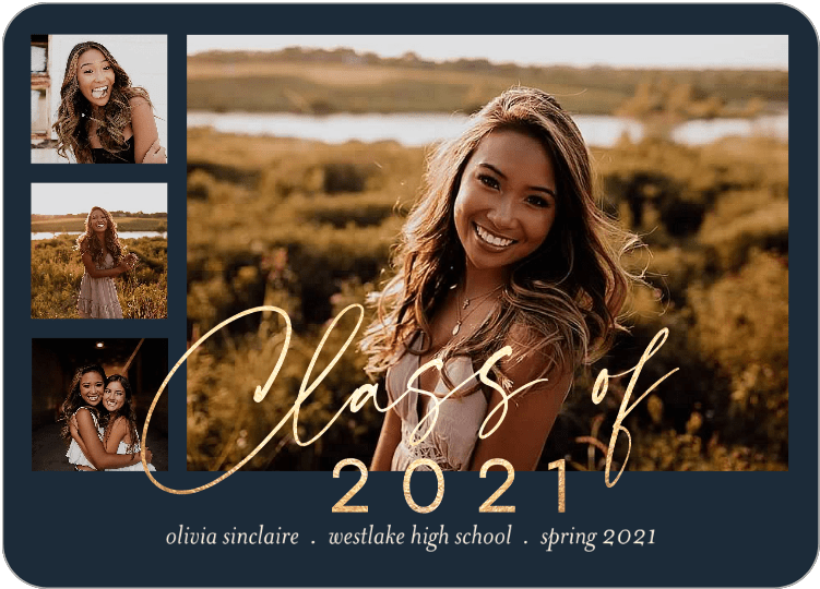 Graduation announcement card featuring semester and year