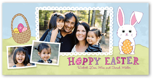 Happy Bunny Easter Card with family picture