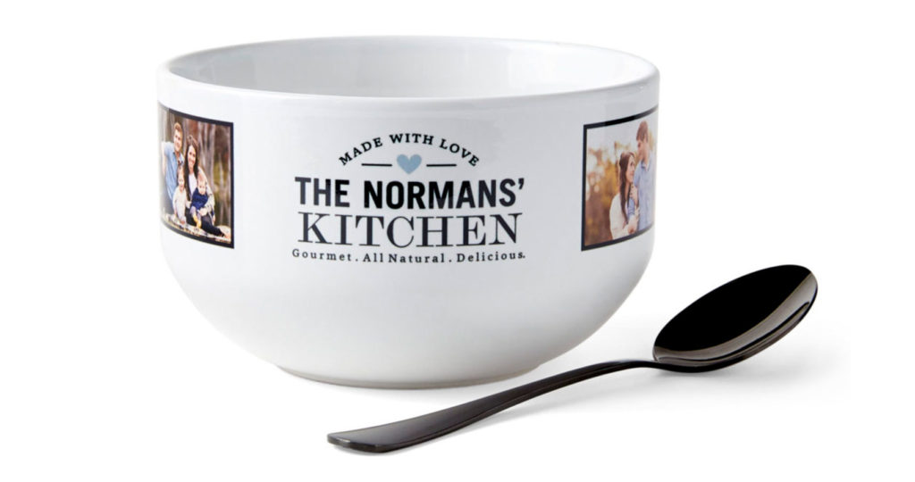 Personalized bowls with family name and pictures with a black spoon