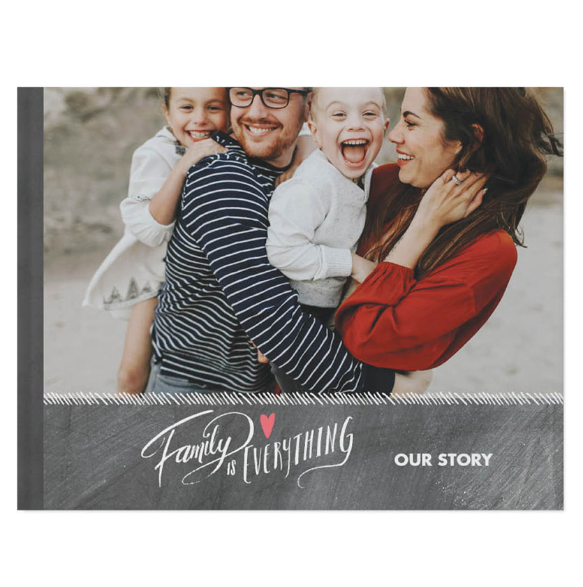 Family photo book with cover photo of mom, dad and kids