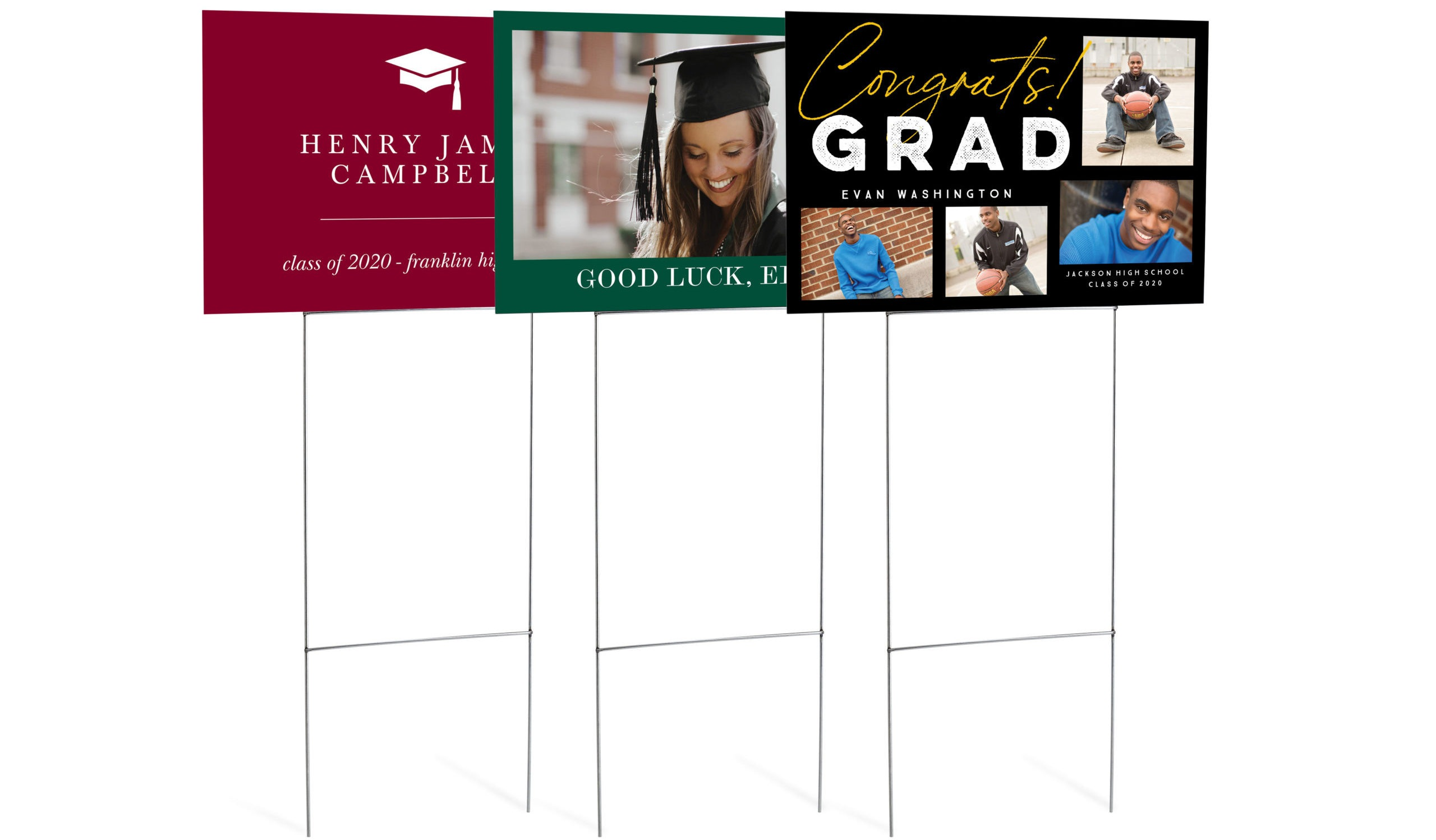 graduation yard sign with three different layouts on an H shaped steel hook to hook in the yard