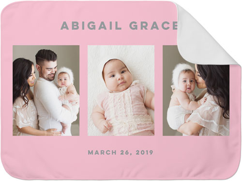 gallery of three baby blanket in pink with name and pictures of a family