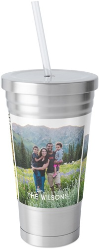 gallery of three stainless tumbler with straw with different pictures