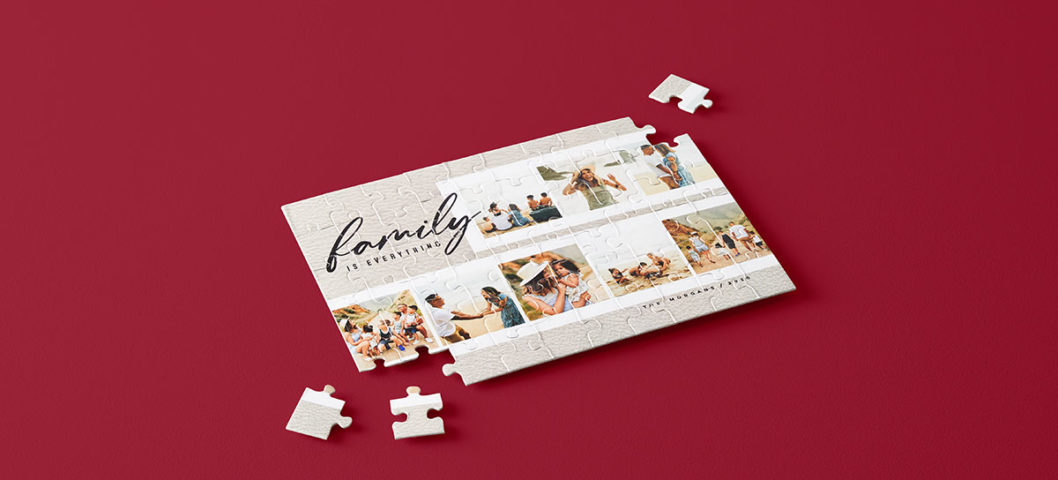 Custom family photo puzzle with big pieces and photo collage that says family in script writing