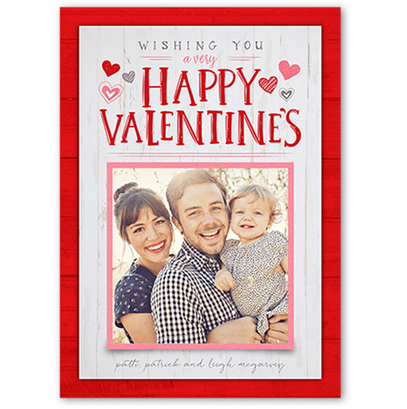 Wishing you a Happy Valentine's card with family photo and red detailing with hearts around text