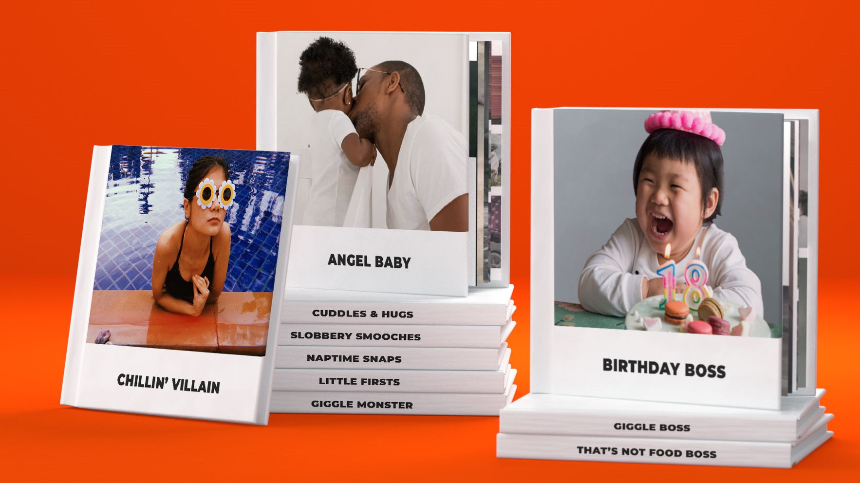 Instant books with different titles on an orange background