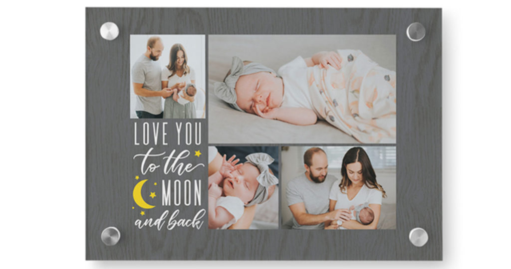 Acrylic photo print with collage of a family and a newborn baby along with a quote about babies