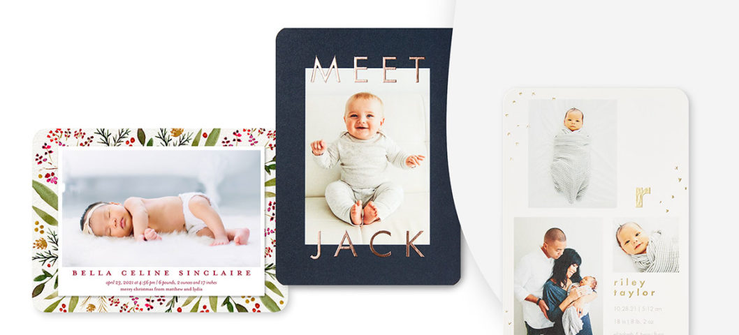Three birth announcements with baby photos and different custom card backgrounds
