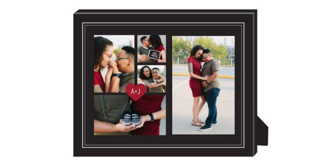 Custom picture fame with gold border and black background framing a photo collage of a couple