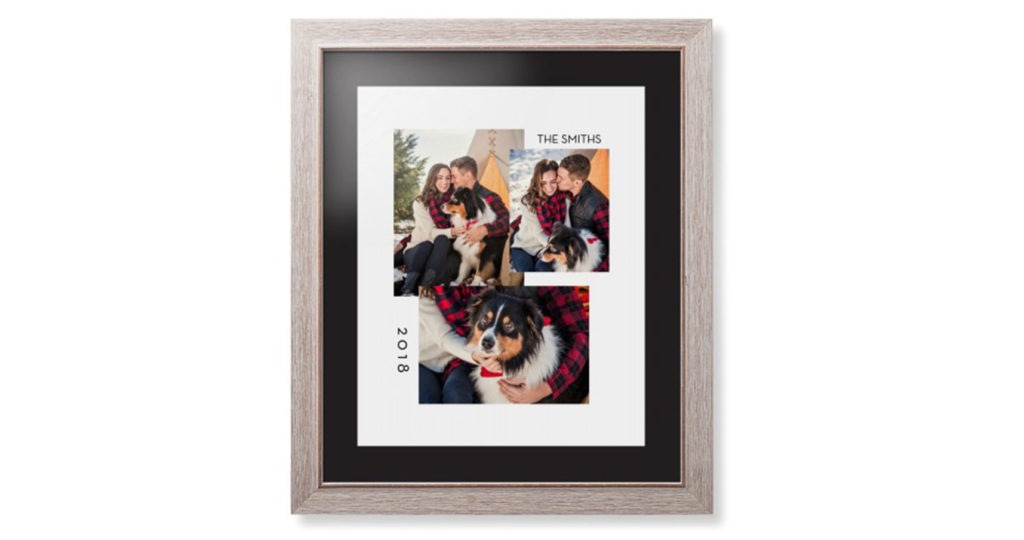 Framed photo print with three photos of husband and wide and the pet dog along with text printed on the top mat