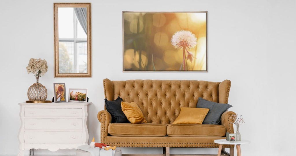Living room wall decor with large photo print above the couch