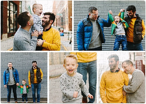 gallery of give puzzle with family of three taking family photos